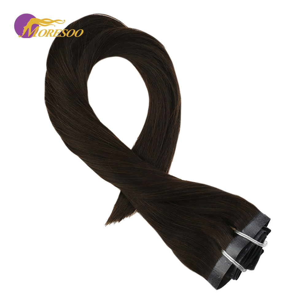 Moresoo PU Clip In Human Hair Extension Darkest Brown Color #2 Seamless Remy Brazilian Hair Extensions 7PCS 100G Full Head Set