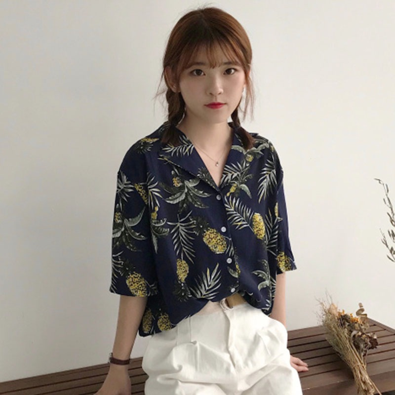 46fec3f1fb Women Hawaiian Style Vintage Button Print Coconut Tree Shirt Loose Fashion Casual  Short Sleeve Chiffon Shirts