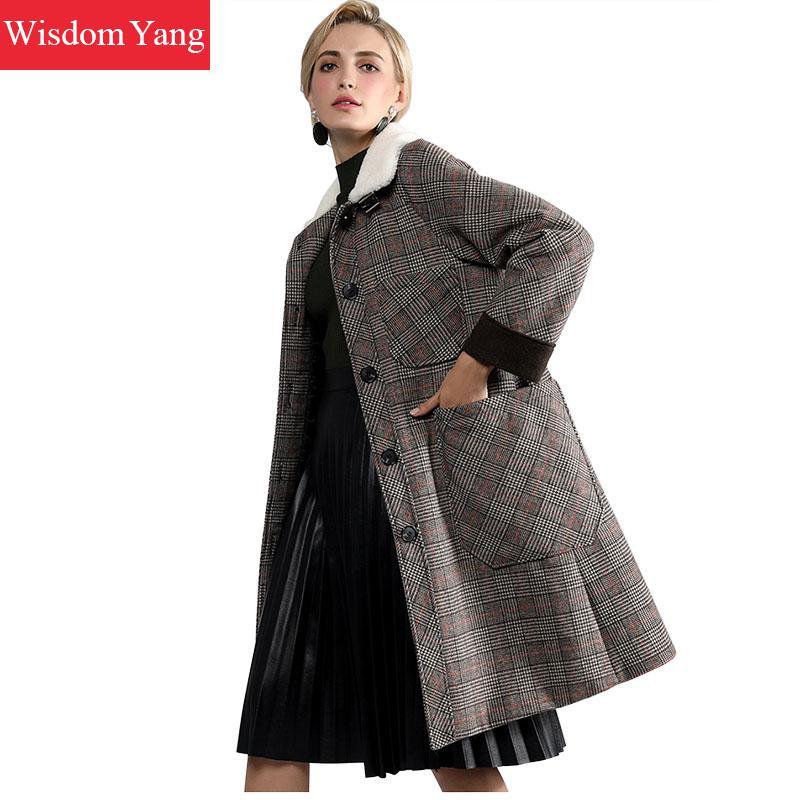 Элегантный серый в клетку Обувь с овечьей шерстью кашемир Женские Пальто Длинные теплые зимние натурального шелка корейский шерстяное пал