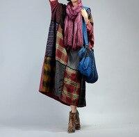 Women Plus Size Palid Patchwork Cotton Linen Dress Ladies Oversized Dress Retro Loose Robe Dresses Female