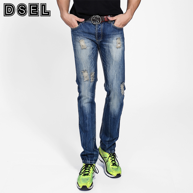 Frayed Hole Ripped Jeans Men Blue Color Casual Streetwear Pants High Quality Denim Ripped Jeans DSEL Brand Designer Men Jeans