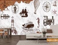 Custom vintage sea ship sailing wallpaper mural light house beacon coffee shop sofa bedroom living room cafe bar restaurant