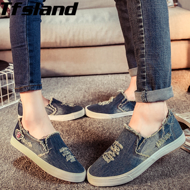 Women Men Unisex Cowboy Demin Canvas Shoes Breathable Comfortable Wrestling Shoes Chaussure Zapatos Mujer for Lovers Sneakers image