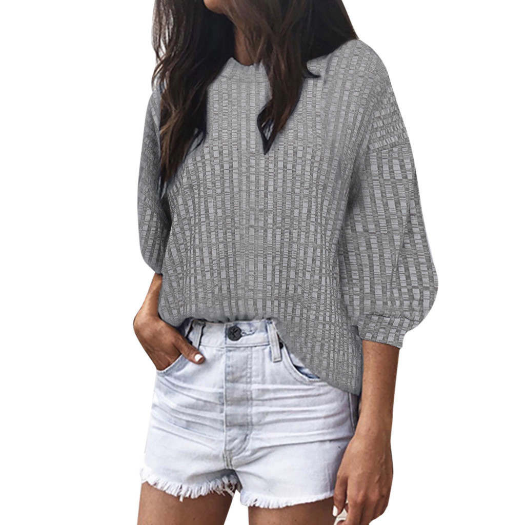 Fashion Winter <font><b>sweater</b></font> Women Solid O-Neck Loose Knitted <font><b>3/4</b></font> Latern <font><b>Sleeve</b></font> crop <font><b>sweater</b></font> slim solid knitted jumpers sweter 7.10 image