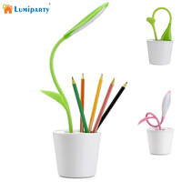 LumiParty Eye Protection LED Table Lamp USB Charging Touch Sensitive Dimmable Desk Lamp With Plant Sapling
