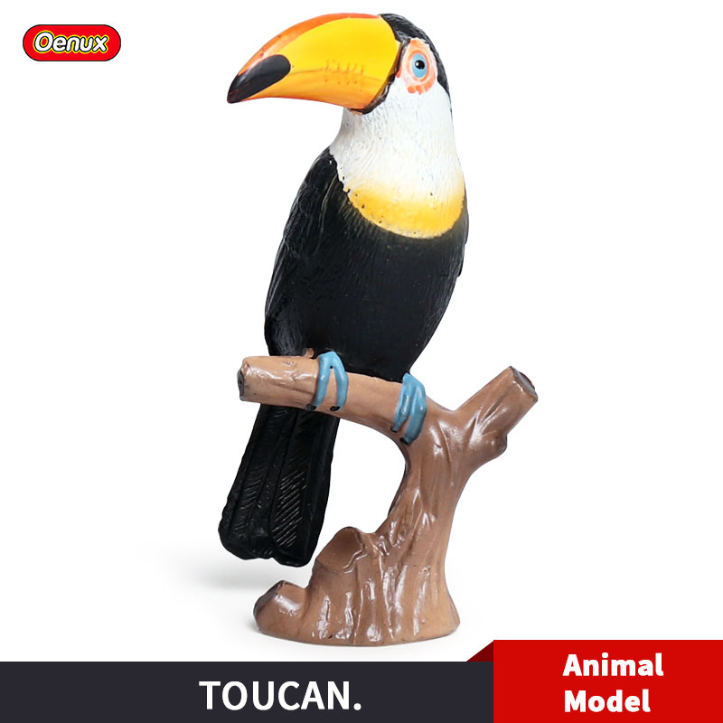 Expressive Oenux New Bird Animal Toucan Simulation Black Bird Parrot Action Figure Model Solid Pvc Figurines Collection Toy For Kids Gift