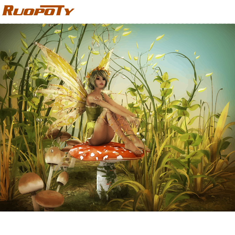 RUOPOTY Frame Forest DIY Painting By Numbers Kit Landscape Acrylic Paint By Numbers On Canvas Handpainted Oil Painting Home Arts