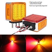 castaleca 1Pair 39LED Square Dual Face Stud Mount Fender Turn Signal Light For Truck Trailer Strobe Lights Warning Lamp Flashing
