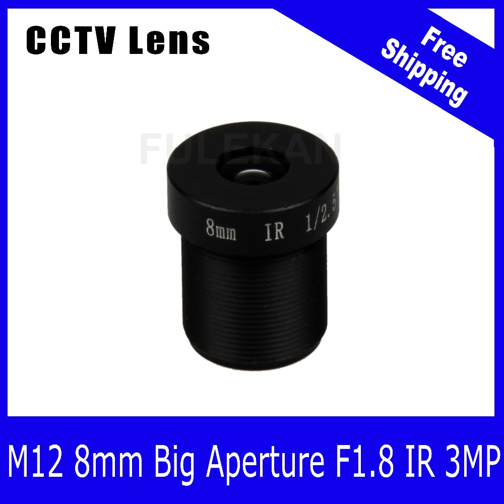 3Megapixel Fixed M12 CCTV Lens 8mm with Big Aperture F1.8 For 720P/1080P/3MP IP Camera and AHD\CVI\TVI CCTV Camera Free Shipping starlight lens 3mp 4mm fixed aperture f1 5 for sony imx290 imx291 ip camera free shipping