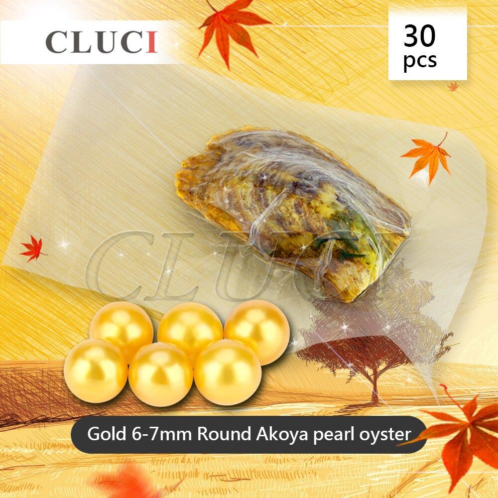 CLUCI оптовая продажа 30 шт. Круглый akoya золотой жемчуг в устрицы вакуумной упаковки 6-мм 7 мм, натуральные золотые бусины для изготовления ювели...