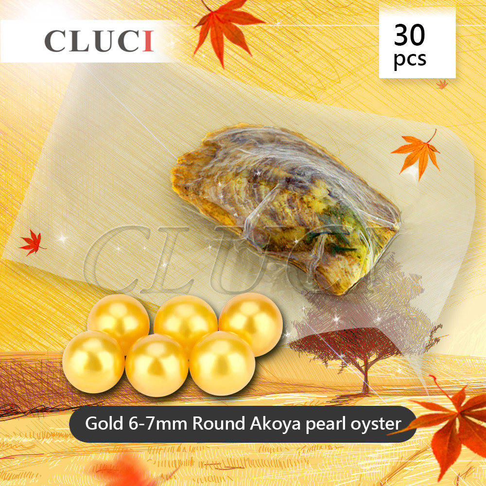 CLUCI Wholesale 30pcs round akoya Gold pearl in oyster vacuum-packed 6-7mm, genuine gold beads for jewelry making Free Shipping цена и фото