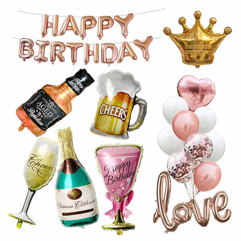 Happy Birthday Party Decoration adult Big Crown Champagne Glasses Whiskey Beer foil Ballons 18th 21st 30th 50th Birthday Balloon