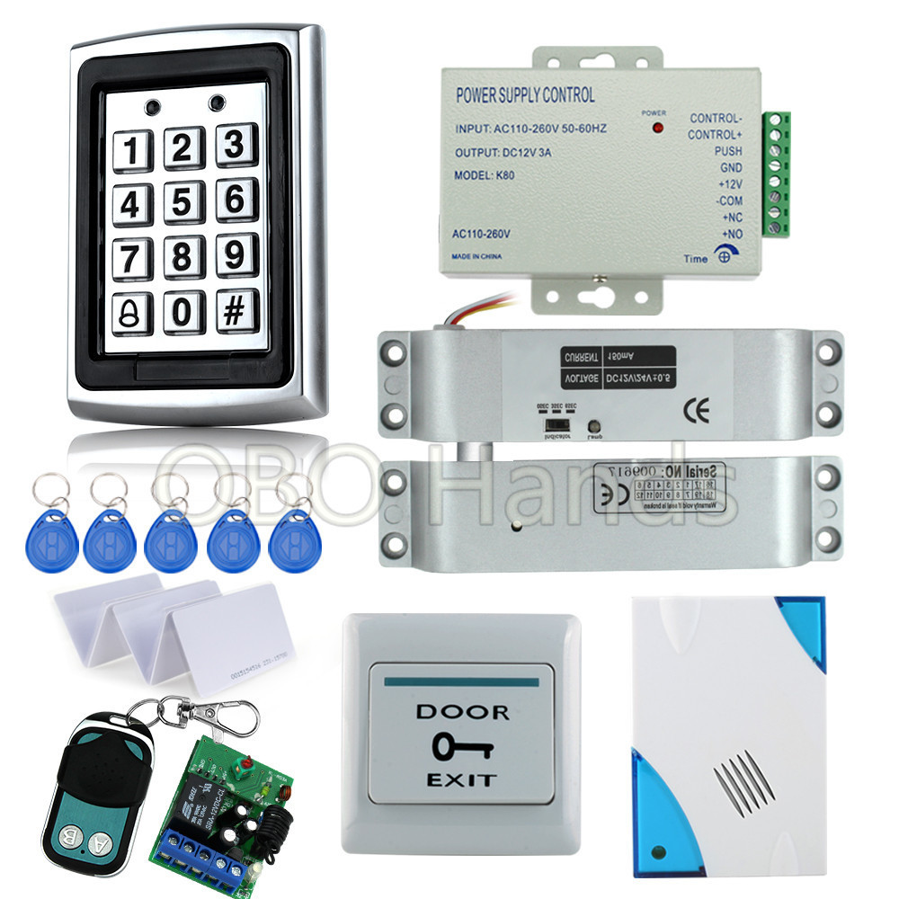 Full Kit rfid access control system 7612+electric drop bolt lock+power supply+door exit button+remote control+rfid key cards hot sale completed door access control system kit v2000 c and electric control lock power supply exit button 10pcs id key cards