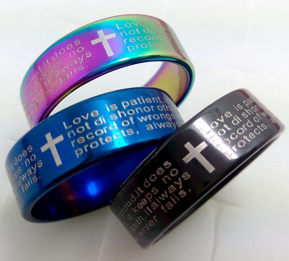 Wedding Ring Bible Quotes: 25pcs Cross 1 Corinthians 13:4 Bible Verse Wedding Band