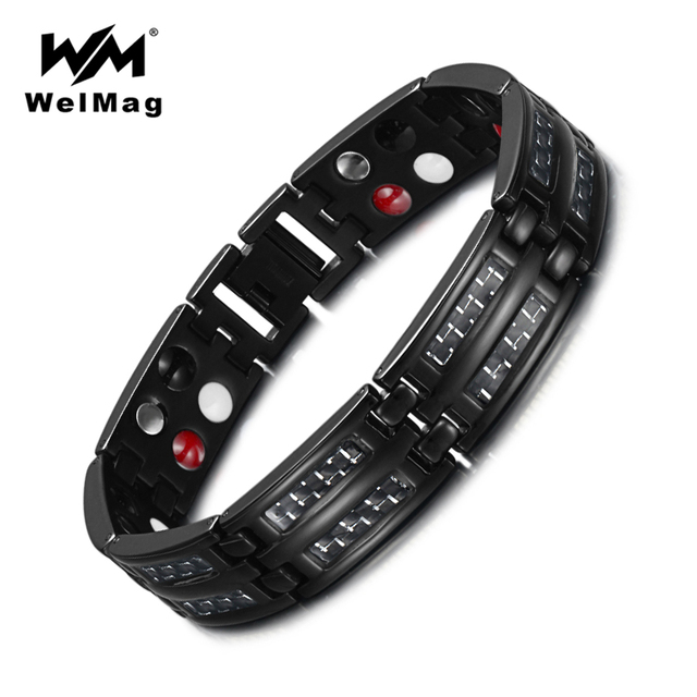 WelMag Black Bracelet Mens Titanium Carbon Fiber Double Row Health Care Elements Magnetic Bracelets & Bangles Dropshipping 2019