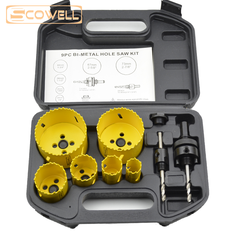 Free Shipping 9pcs Holesaw kit Bi-metal Hole Saw boring DIY tools hole saw cutter for wood cutting,metal cutting Hole Drill bit