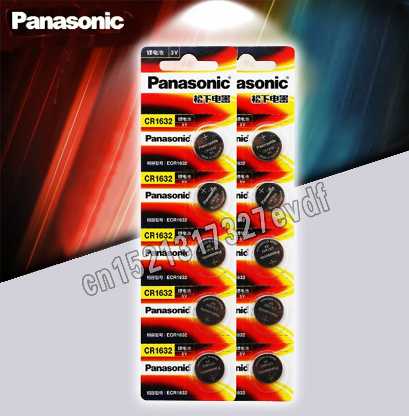 10PCA Panasonic Cr1632 Button Cell Coin Battery 3v Watch Remote Control Car Keys DL1632 ECR1632 GPCE1632 Lithium Battery
