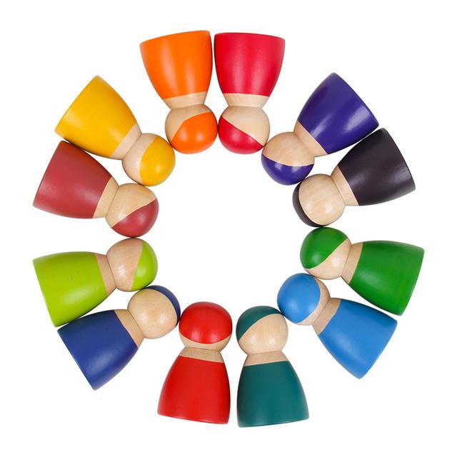 Set Of 12 Rainbow Friends Wooden Peg Dolls