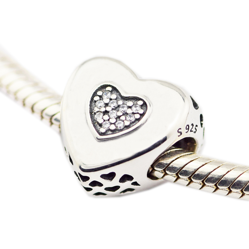 925 Sterling Silver Jewelry Heart to Heart Chamrs Original Fashion DIY Beads Fits Bracelets For Jewelry Making