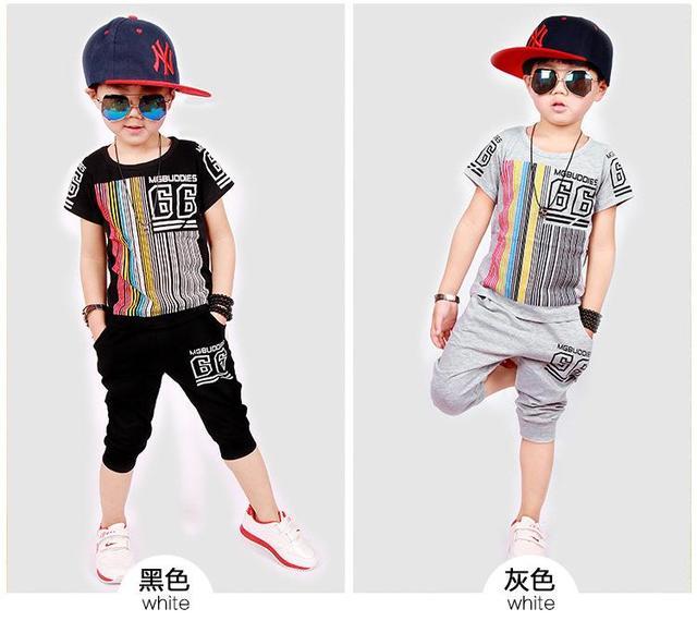 Versión coreana de la ropa de los pequeños niños grandes chico virgen traje de manga corta del verano de los niños 2016 nuevo bebé traje de algodón