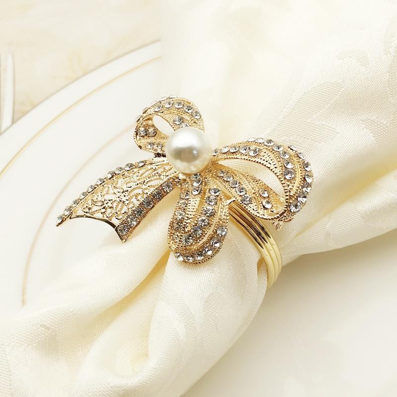 SHSEJA High-grade Napkin Ring Western Tableware Diamond Rhinestone Butterfly Knot Wedding Napkin Ring Desktop Decoration
