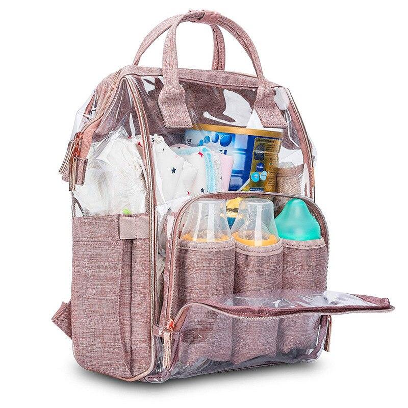 Fashion Clear Baby Diaper Bag Backpack Waterproof Mother Maternity Bag Large Capacity Nappy Changing Bag Bolsas Maternidade
