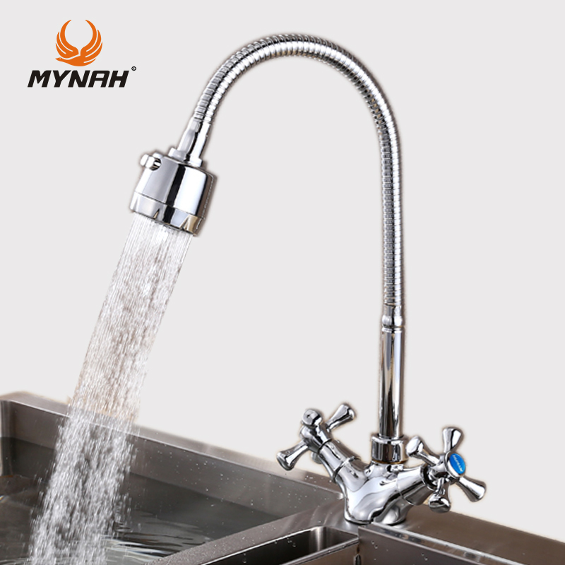MYNAH Kitchen Faucet Double Handle Kitchen Sink Faucet Mixer Cold and Hot Kitchen Tap Mixer Single