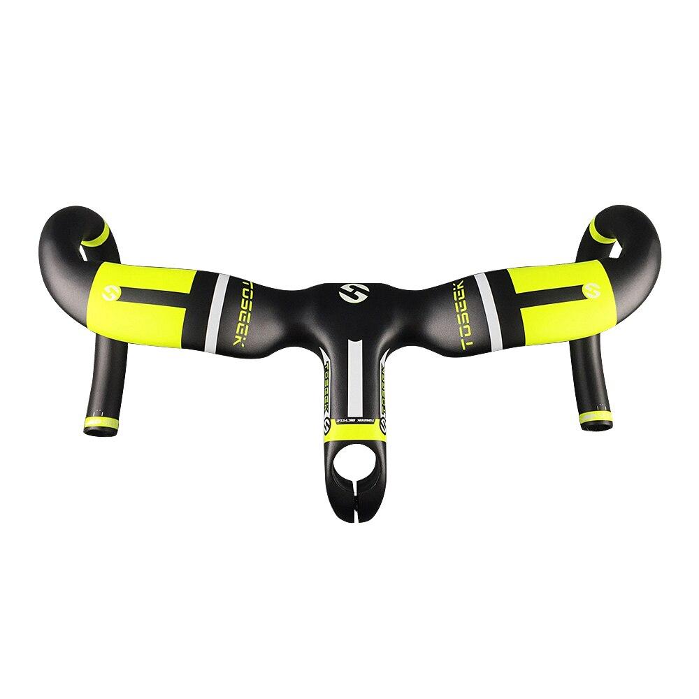 Offre spéciale vélo carbone guidon vélo de route Style intégré barre pliée avec tige 80/90/100/110/120mm UD guidon jaune mat