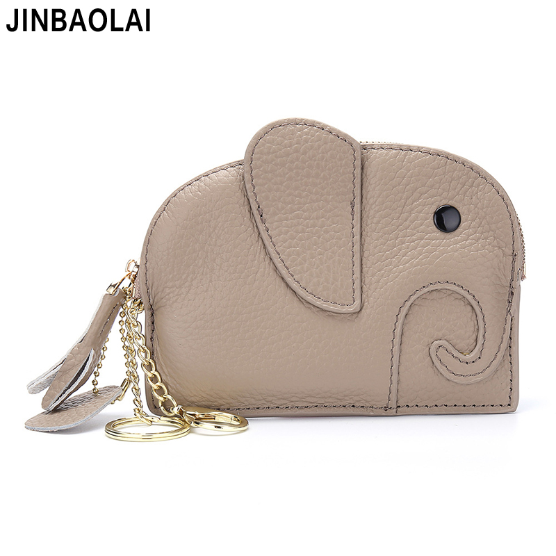 Genuine Leather Women Wallet Ins Creative Small Elephant Female Short Small Slim Wallets Cute Coin Purse 2019 Mini Zipper Pocket