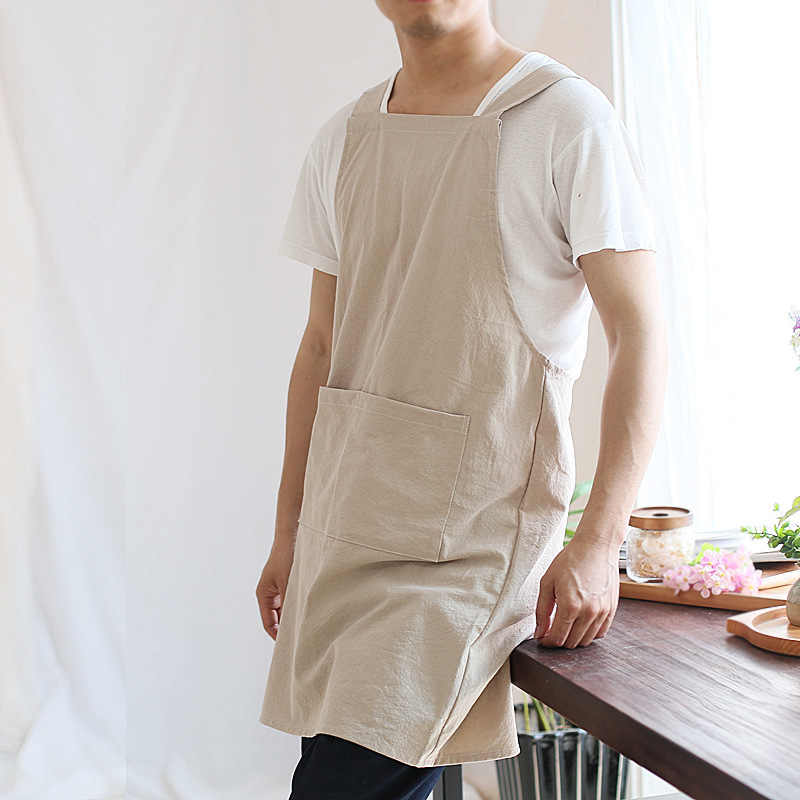 2019 חדש קצר נורדי רוח כותנה פשתן סינר גברים מטבח סינרים לנשים שף בישול אפיית מסעדת סינר פינאפור