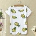 2017 M-XL Piña Fruta de Moda de Verano camiseta Impresa Verano de Las Mujeres Suelta de Manga Corta Tops Tees O-cuello de La Camiseta Mujeres Plátano