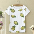 2017 M-XL Summer Fashion Pineapple Fruit Printed Summer T shirt Women Tops Short Sleeve Loose O-neck T-shirt Women Banana Tees