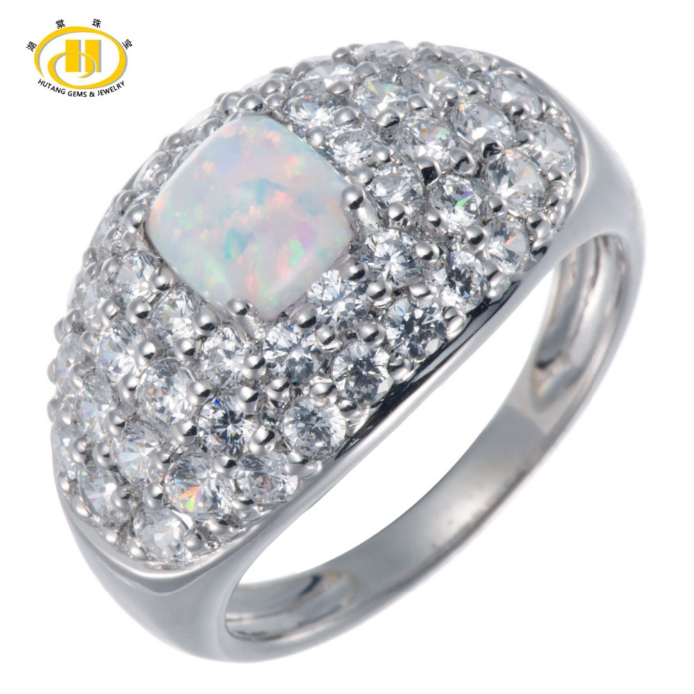 5e985ece41c389 Hutang White Opal Gemstone Genuine 925 Sterling Silver Ring party wedding  Fine HuTang Jewelry