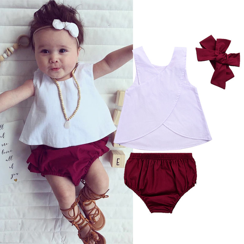 3PCS Toddler Kids Baby Girls Clothes 2017 Summer Sleeveless Back Cross Vest T-shirt Tops+Ruffled Skirted Bloomers Short Outfits