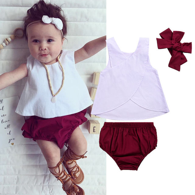 92401e0637cb0 US $5.99 |3PCS Toddler Kids Baby Girls Clothes 2017 Summer Sleeveless Back  Cross Vest T shirt Tops+Ruffled Skirted Bloomers Short Outfits-in Clothing  ...