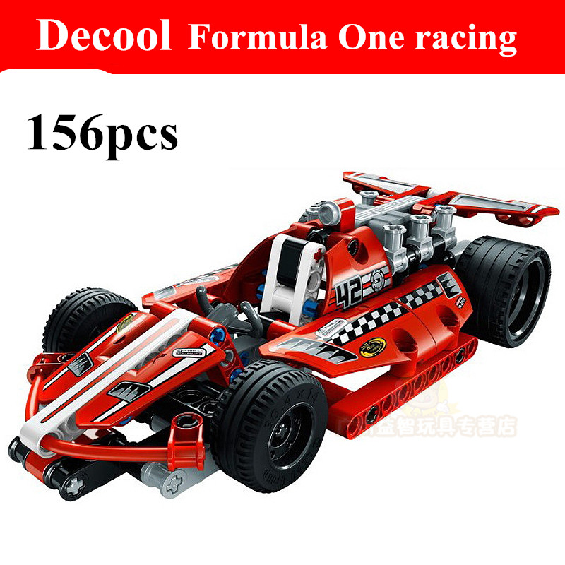 2015 new decool 3412 warrior dazzing red racer pull back technic car Building Block Sets Toys Compatible With Lepin