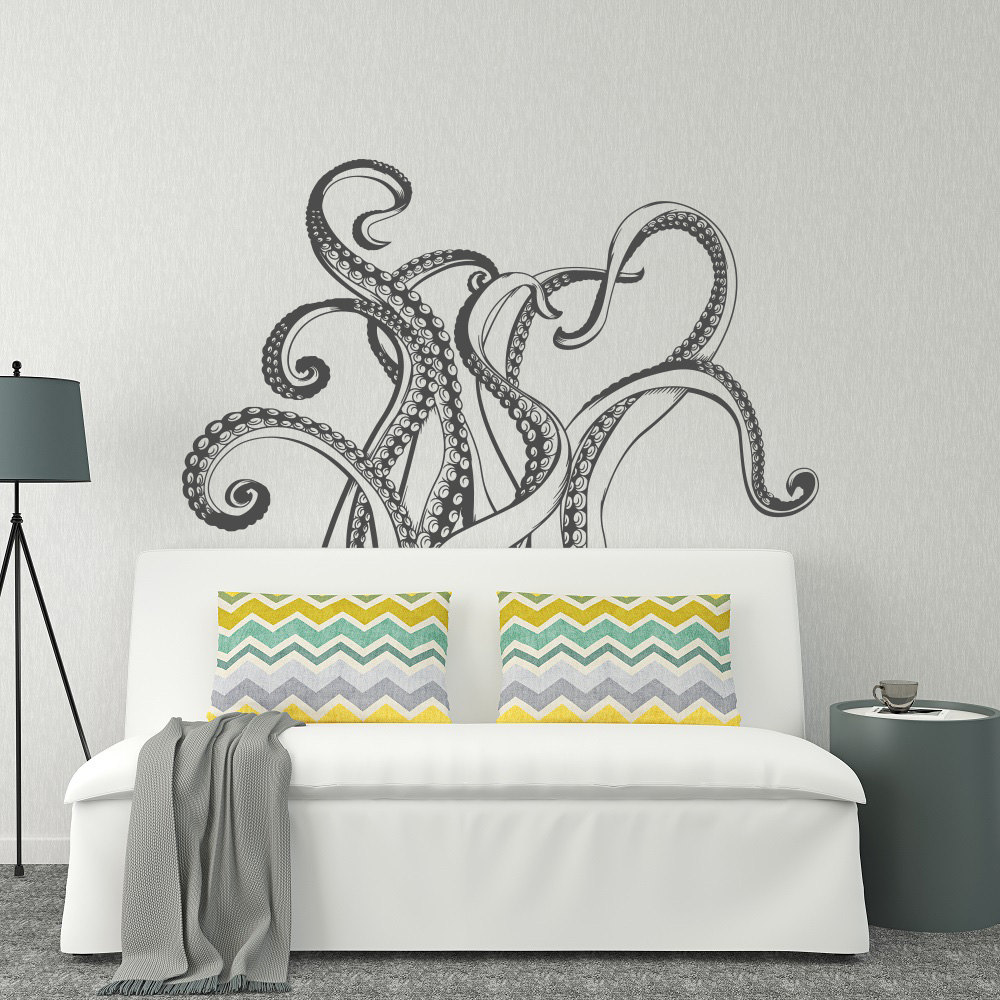 Fashion style octopus tentacles wall decal bathroom for Vinyle mural salle de bain