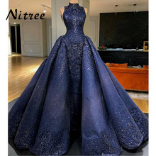 African Royal Blue Mermaid Evening Dresses Dubai Turkish Arabic Aibye Bling Unique Sequins Dress Prom Gowns Abendkleider Kaftan