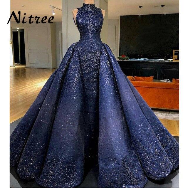 אפריקאית כחול מלכותי בת ים שמלות ערב תורכי ערבית דובאי Aibye בלינג שמלות נשף שמלת פאייטים ייחודיים Abendkleider קפטן