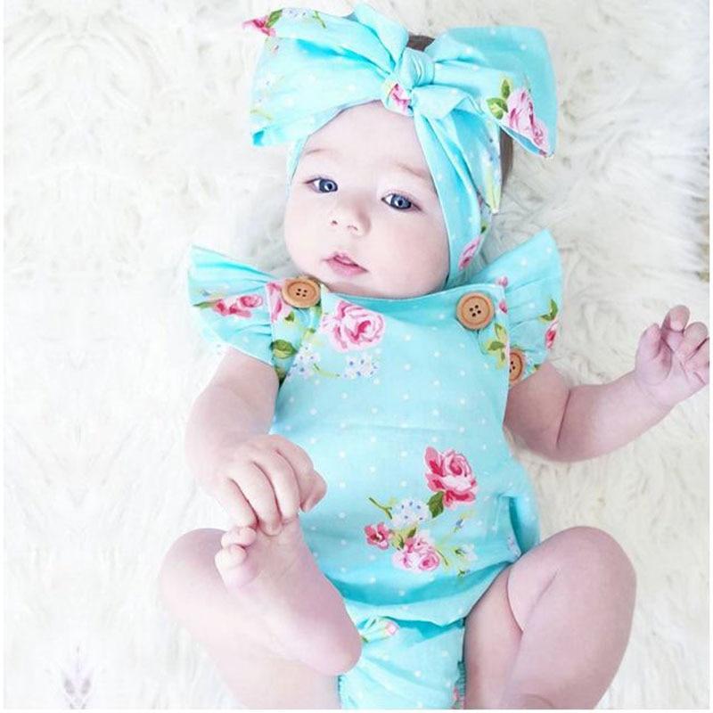 где купить 2018 Baby Girls Clothes Summer Flower jumpsuit 0-24M Baby Girls Newborn Infant Toddle Bebes One-Pieces Body Suit Costume по лучшей цене