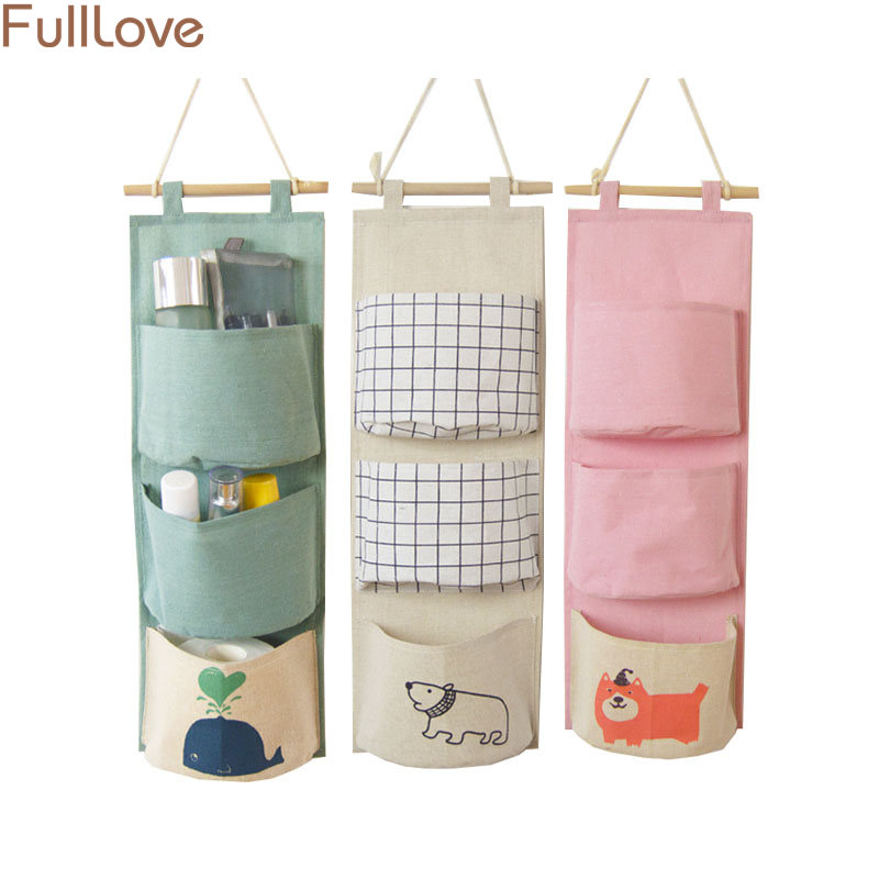 Special Section Cotton Linen Hanging Storage Bag 3 Pockets Wall Mounted Wardrobe Organizer Hang Bag Wall Pouch Cosmetic Closet Toys Storage Storage Bags Home & Garden