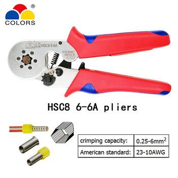 HSC8 6-6A crimping pliers 0.25-6mm2 23-10AWG with 1020 700pcs tube type needle type terminal crimp mini pressure wire tools sn 06 mini european style wire crimping pliers terminal clamp pliers 20 10awg wire crimping tool crimping plier 0 5 6mm2 page 6