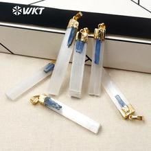 WKT WT P1310 Yeni Varış Moda Kadınlar Takı Metal Kaplama Selenite Mavi Kiyanit Taş Kolye Basit Tarzı