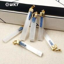 Wkt WT P1310 nova chegada moda feminina jóias de metal chapeado selenita com azul kyanite pedra pingente para estilo simples