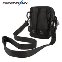 Tactical Molle Utility Pouch Hunting Vest Tool Bag Shoulder Strap Military Sundries Storage Large Black Waist Bag 1000D Nylon