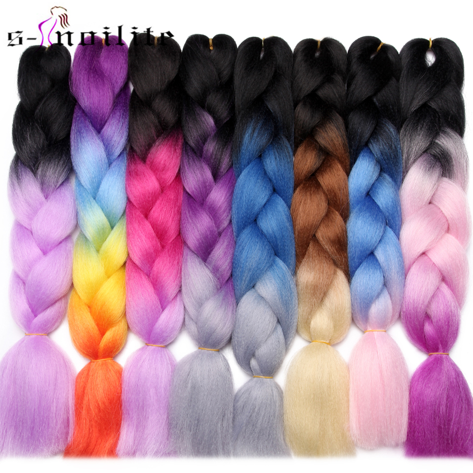 Hair-Extensions Braiding Crochet Blonde Grey Pink Blue Ombre Synthetic 24inch S-Noilite