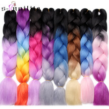 S-noilite 24 Inch Ombre Jumbo Braids Synthetic Braiding Crochet Blonde Pink Blue Grey Hair Extensions(China)