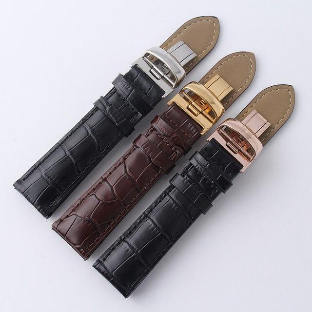 Bracelet de montre en cuir véritable noir marron pour Tisot T-CLASSIC LE LOCLE automatique T41.1 bracelet à boucle papillon en or argenté