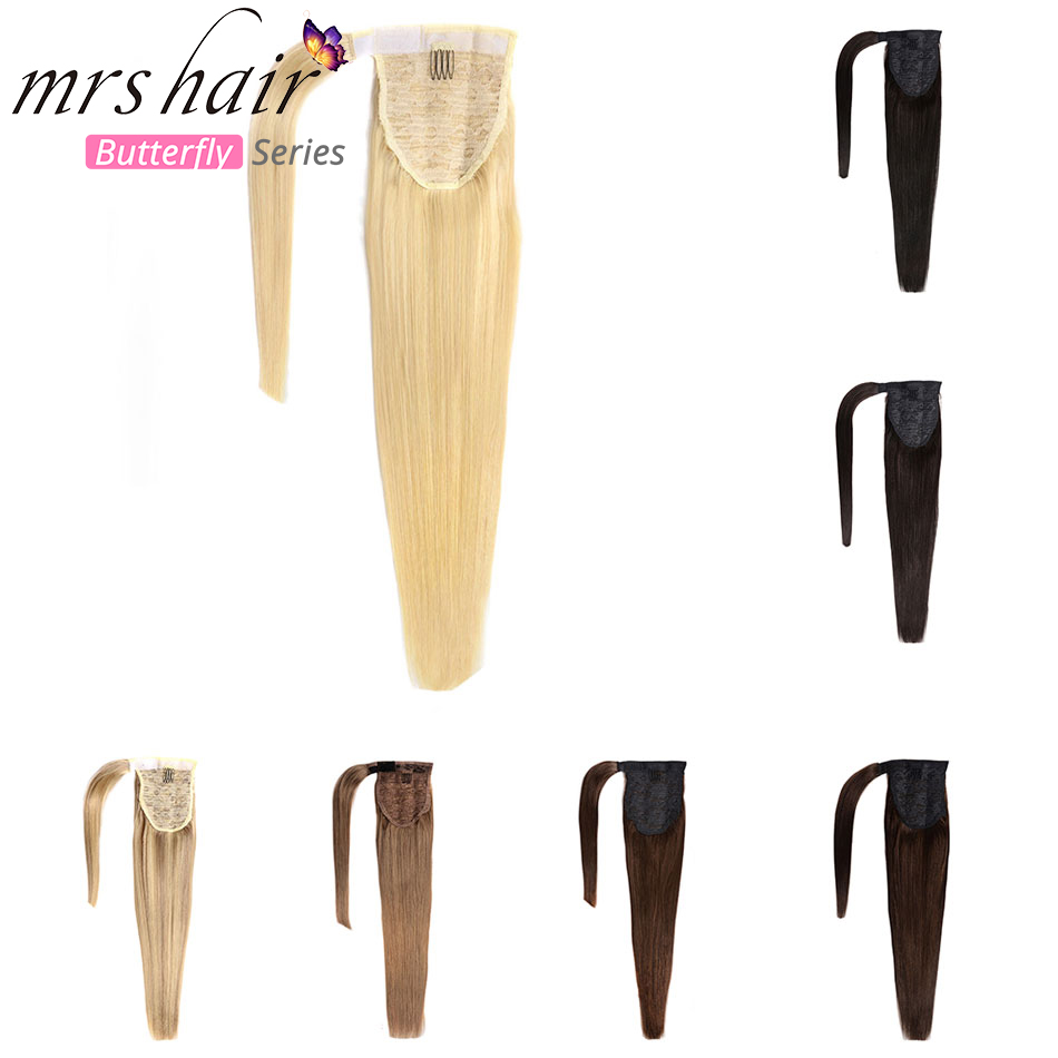"MRS HAIR Ponytail Human Hair Clip In Black / Blonde Machine Made Remy Hairpieces Straight Clip In Hair Extensions 14"" 18"" 22""(China)"