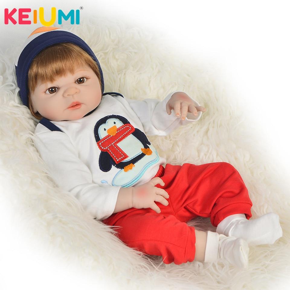 Unique 23 57 cm Reborn Baby Boy Full Silicone Body Reborn Dolls Lifelike Kids Playmate Baby